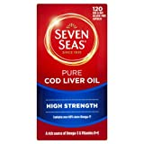 Seven Seas Pure Cod Liver Oil High Strength With Omega 3 Plus Vitamins D & E 120 Capsules