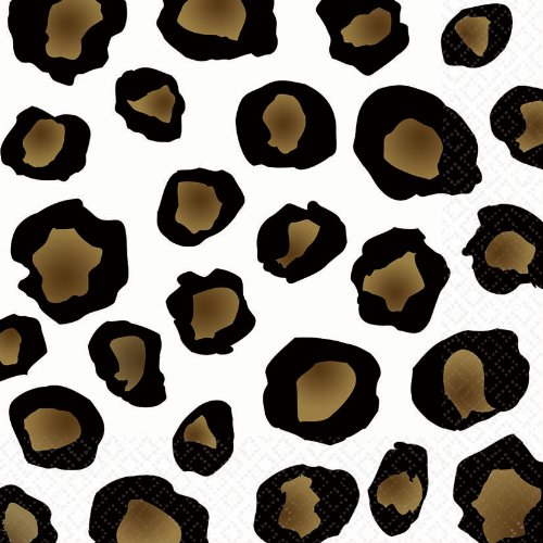 "Amscan Disposable 2-Ply Lunch Napkins in Leopard Print (16 Pack), 6.5 x 6.5"", White/Brown/Black"