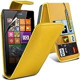 (Gelb) Nokia Lumia 520/525 Schutzhülle aus Kunstleder Debit/Credit Card-Slot Flip Case Cover , des Klappdachs...
