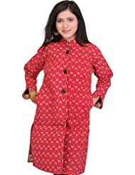 Exotic India Scarlet-Red Jacket From Pilkhuwa With Floral Print And St - Scarlet