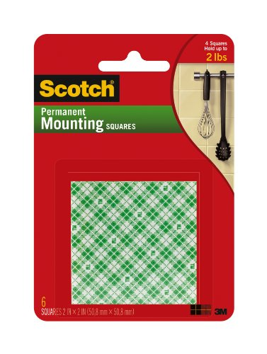 Scotch(R) Foam Mounting Squares Permanent , 2 X 2 Inches ,White (111-Lrg)
