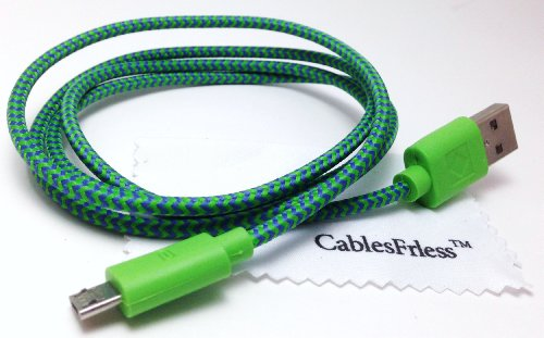 Cablesfrless 3Ft Braided High Quality Durable Micro B 2.0 Usb Charging / Data Sync Cable Fits Android, Windows Phone, Samsung Galaxy S5, And Other Micro Usb 2.0 Compatible Devices (Dark Green)