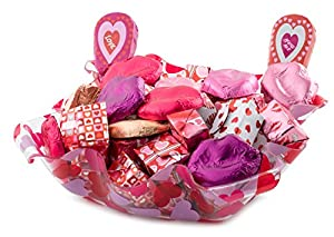 Happy Valentines Day Gift, Assorted Gourmet Mini Milk Chocolates Heart Tray, Lips, Presents, and Lollipops