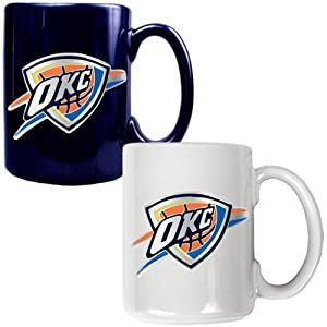 NBA Oklahoma City Thunder Two Piece Ceramic Mug Set - Primary Logo by Great American Products