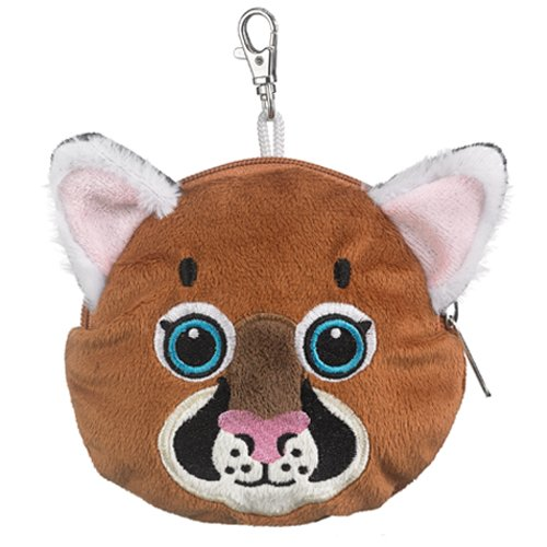 Cougar Stuffed Animal Plush Pouch Purse Animal Case Clip on Bag Animal Zipper Mountain Lion Pouch Puma Wallet Bag