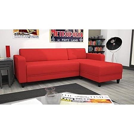 Sofá de esquina reversible 4 plazas, color rojo
