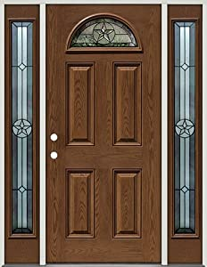 Fiberglass Front Door With Sidelites Texas Star Fan Lite 35 Patina Pre Finished Oak Right