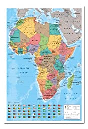 Africa Map Wall Chart Poster Magnetic Notice Board White Framed - 96.5 x 66 cms (Approx 38 x 26 inches)