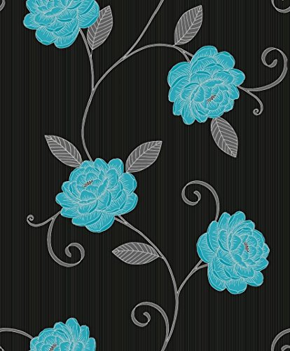 picasso-black-with-silver-teal-flower