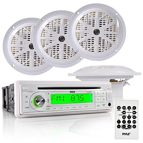 Pyle Marine Stereo Radio Headunit Receiver & Speaker Kit, MP3/USB/SD Readers, CD Player, AM/FM Radio, Single DIN, (4) Waterproof 5.25'' Speakers, Splash Proof Cover (White) (F150 Radio Console compare prices)