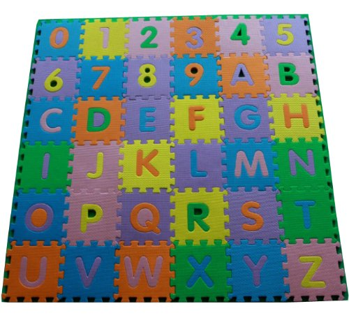 36Pcs Soft Safety Travel Baby Kid Toddler Infant Newborn Children Room Nursery Abc Alphabet Letters Numbers Eva Foam Play Floor Mat Tiles Jigsaw Educational Puzzle Crawl Pad Toy front-484063