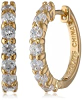 Sterling Silver and Simulated Diamond Hoop Earrings by PAJ, Inc