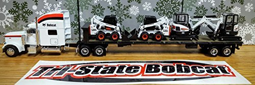 peterbilt-model-379-tractor-with-flatbed-trailer-and-4-pieces-bobcat-equipment-1-50-by-norscot-25101