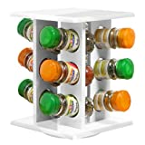 Premier Housewares Revolving Spice Rack with Schwartz Spices (Spice Rack White Wooden 12)