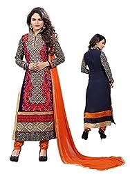 Sky Up Women's Georgette Embroidered Orange Salwar Suit