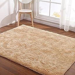 Hoomy Light Camel Floor Rugs Modern Fluffy Living Room Area Rugs Soft Nonslip Bedroom Floor Mat Shaggy Solid Carpet 3X6.5