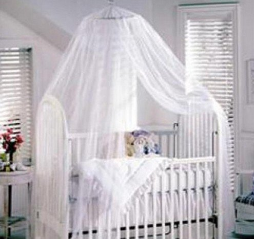 Tojoy Baby Mosquito Net Baby Toddler Bed Crib Canopy Netting, White front-140277