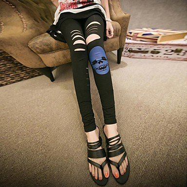 BuW Women's Skull Shredded Leggings, leggings, jeggings, pants, tights, printed leggings, yoga leggings summer yoga stretch leggings hip running pants