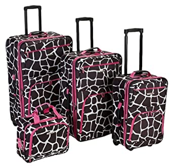 Rockland Luggage 4 Piece Luggage Set, Pink Giraffe, One Size