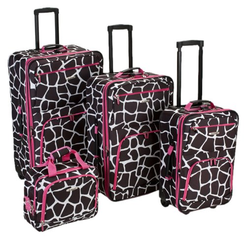 Rockland Lage 4 Piece Lage Set, Pink Giraffe, One Size