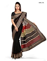 Beautiful Black Ethnic Wear Saree Indian Fancy Designer Work Net Sari