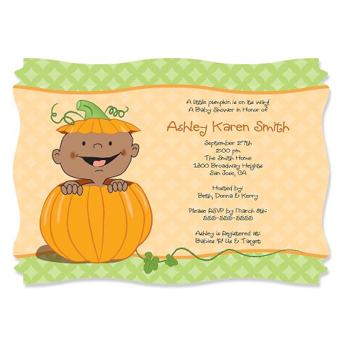 Little Pumpkin African American - Personalized Baby Shower Invitations front-157727