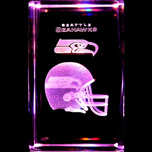 Seattle Seahawks 3D Laser Etched Crystal + Rotating Display Light Base With 7 Multi Color Led'S