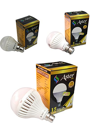 Aster 3W, 5W, 15W B22 LED Bulb (Pack Of 3, White)