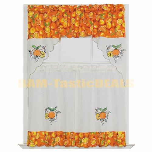 Kitchen Curtain Fruit Swag: Tier Curtains: Oranges 3-piece Kitchen Window Curtain Set