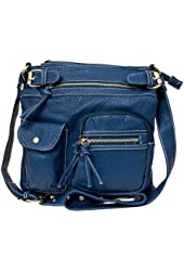 Braided Satchel Hobo Handbag (Blue)