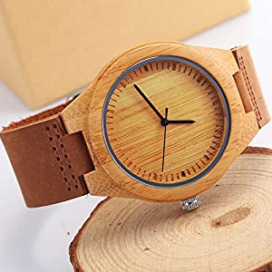 CUCOL Natural Bamboo Wooden Watch with Genuine Brown Leather Strap Japanese Quartz Movement Casual Watches