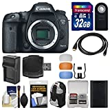 Canon EOS 7D Mark II GPS Digital SLR Camera Body with 32GB Card + Backpack + Battery & Charger + Remote + Kit
