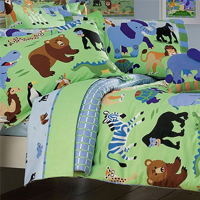 Olive kids wild animals twin size comforter and sheet for Wild bedding
