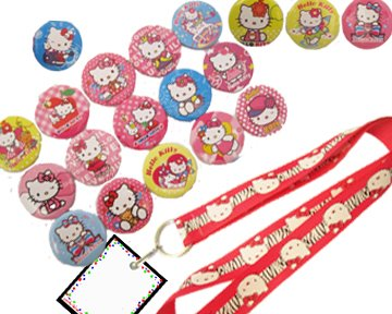Hello Kitty Birthday Party Set - 19 Favor Badges