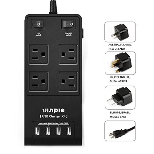 Portable International with 4-USB Output Surge Protector, T Charging Station for iPhone, iPad, Samsung, Tablet 5ft