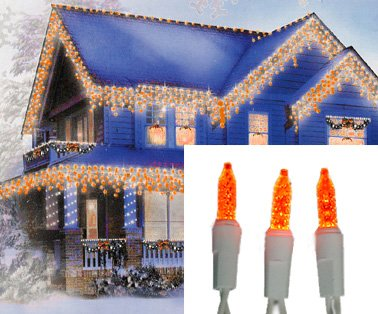 Set of 70 Orange Gold LED M5 Icicle Christmas Lights - White Wire