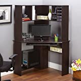 Small Corner Home Office Computer Desk with Hutch [Expresso], keyboard Shelf, Bookcase and CD/DVD Storage bay Modern Designe Perfect for Study Room, Home Office and Ideal For Small Spaces will fit in any corner.