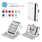 Exact(TM) 360 degree Rotary leather case for Nook HD+ 9 Tablet White (Support Auto Sleep/Wake Function)