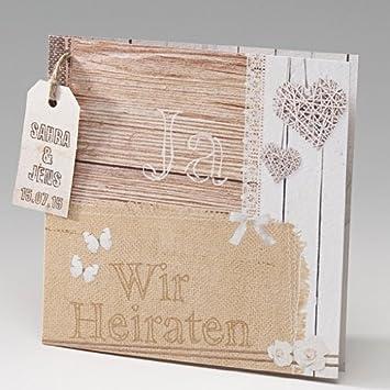 Hochzeitseinladung quot molly quot 3 st ck in for Hochzeitseinladung holz