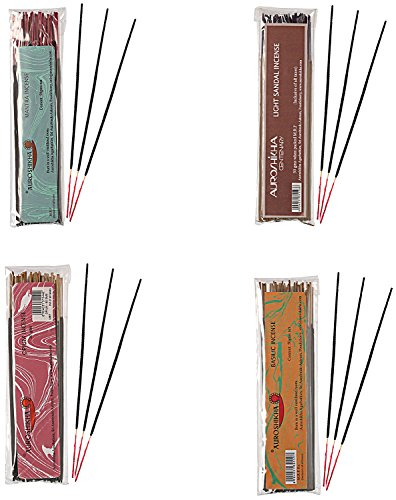 Auroshikha Combo Of Incense Sticks ,Opium, Light Sandal, Mantra ,Basilic- Pack Of 4