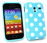 Emartbuy® Samsung S7500 Galaxy Ace Plus Polka Dots Gel Skin Cover Blue / White