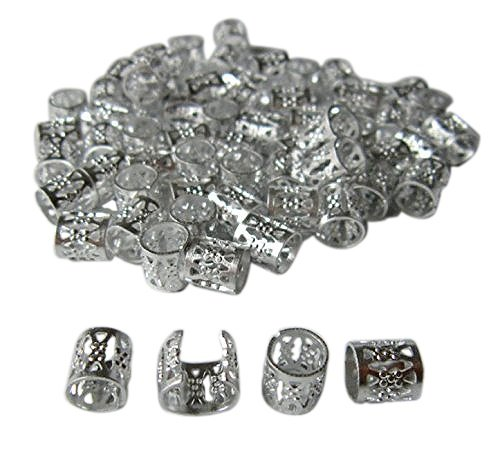 Dreadlock Beads for Hair, Braids, and Locs, 50 pieces, by Lock Love in SILVER Metal Filigree Cuff for Men or Women (Silver) (Hair Clips For Locs compare prices)