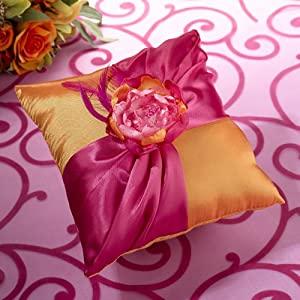 Lillian Rose Ring Pillow, 7-Inch, Hot Pink and Orange