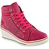 WOMENS LADIES DIAMANTE WEDGE TRAINERS HIGH TOPS CONCEALED HEEL ANKLE BOOTS SHOES