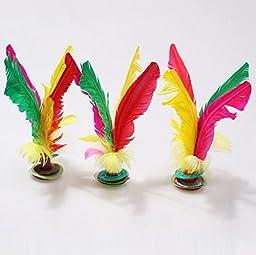 naughtygifts Colorful Feather Kick Shuttlecock Chinese Jianzi 3 Pcs