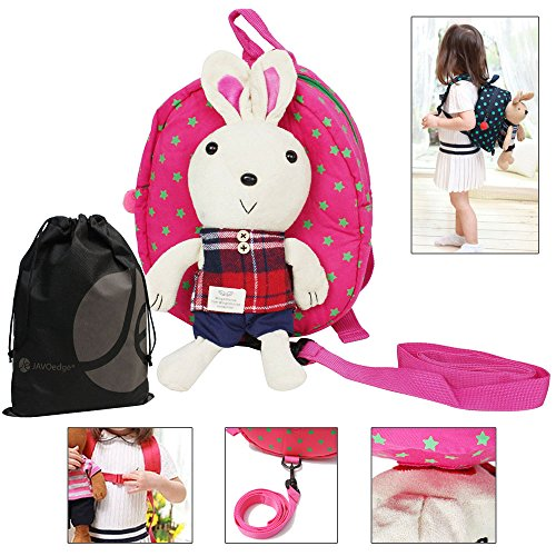 Javoedge Toddler Safety Harness Backpack With Removable Stuffed Bunny And Bonus Reusable Storage Bag (Pink)