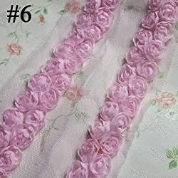 New Retail Two Lines Chiffon Flower Rose Trim 30MM Width ,5yards/lot Chiffon Lace Flower Trimming 6