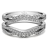 Double Infinity Wedding Ring Guard Enhancer with 0.49 cts of CZ in Silver