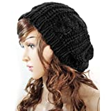 FUNOC Women Ladies Baggy Beret Chunky Knit Knitted Braided Beanie Hat Ski Cap
