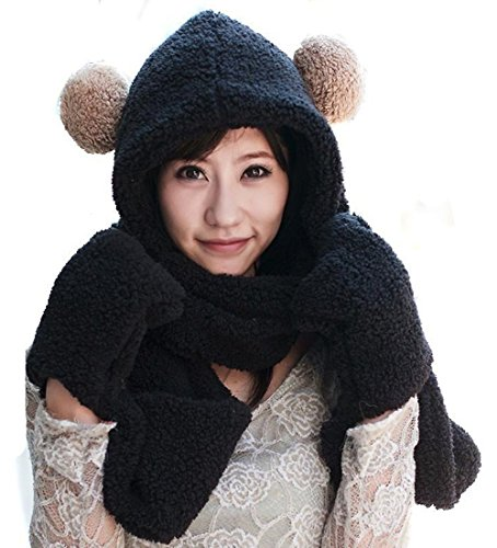 TININNA Inverno peloso multiuso Cappello con lungo Guanti Sciarpa Cappello Berretto Impostato per le donne ragazze Nero